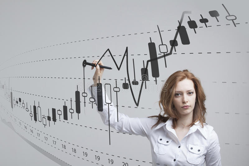 Finance data concept. Woman working with Analytics. Chart graph information with Japanese candles on digital screen. royalty free stock image