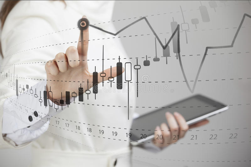 Finance data concept. Woman working with Analytics. Chart graph information with Japanese candles on digital screen. royalty free stock photography