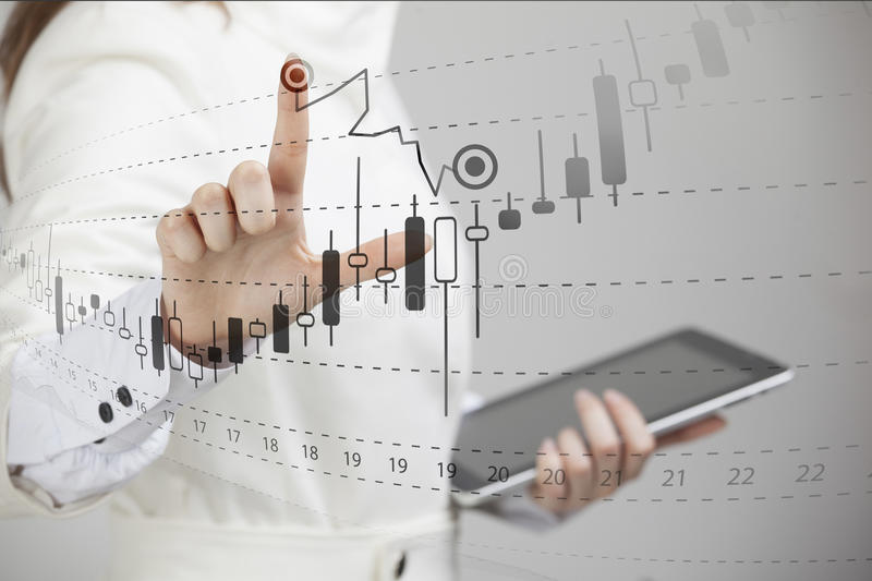 Finance data concept. Woman working with Analytics. Chart graph information with Japanese candles on digital screen. Finance data concept. Young woman working royalty free stock photography