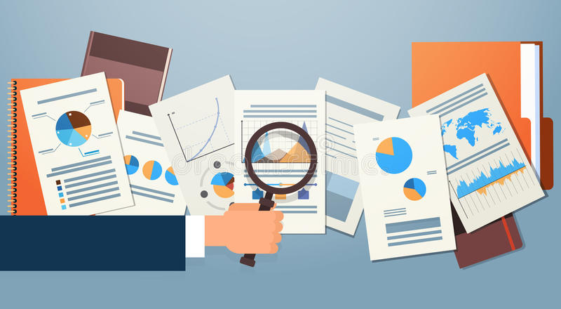 Finance Diagram Documents Desk Analysis Businessman Hand with Magnifying Glass Financial Business Graph. Vector Illustration royalty free illustration