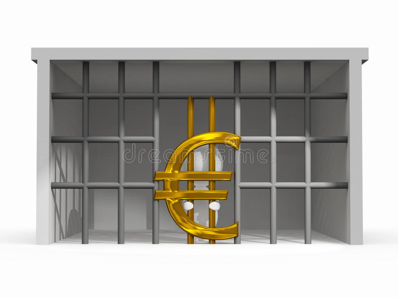 Finance Difficulty Situation with Euro Symbol. Illustration of a man have finance difficulty with euro symbol royalty free illustration