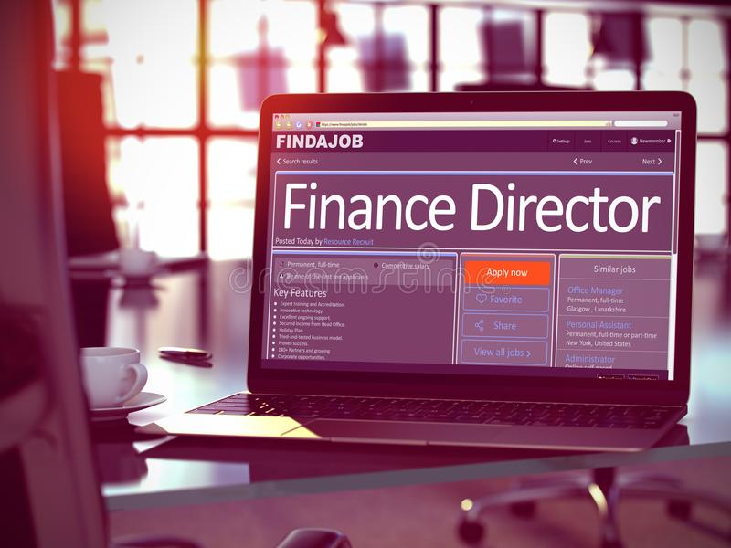 Finance Director Job Vacancy. 3D. Finance Director - Get a New Employment Here. Head Hunting Concept. 3D Illustration stock image