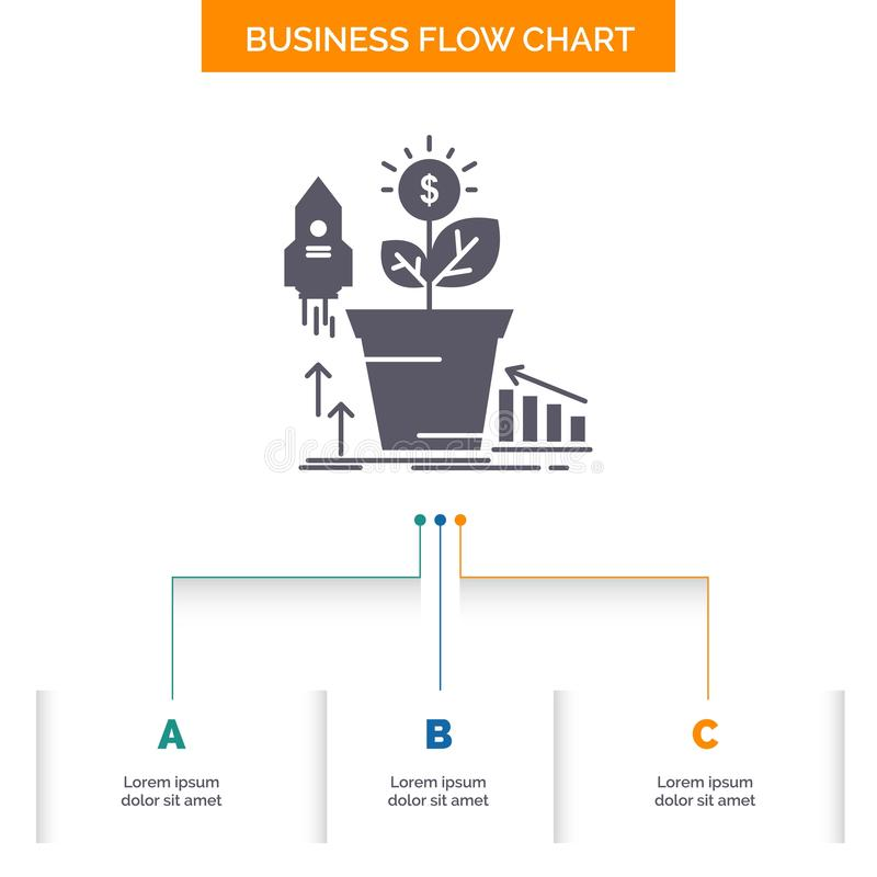 Finance, financial, growth, money, profit Business Flow Chart Design with 3 Steps. Glyph Icon For Presentation Background Template vector illustration