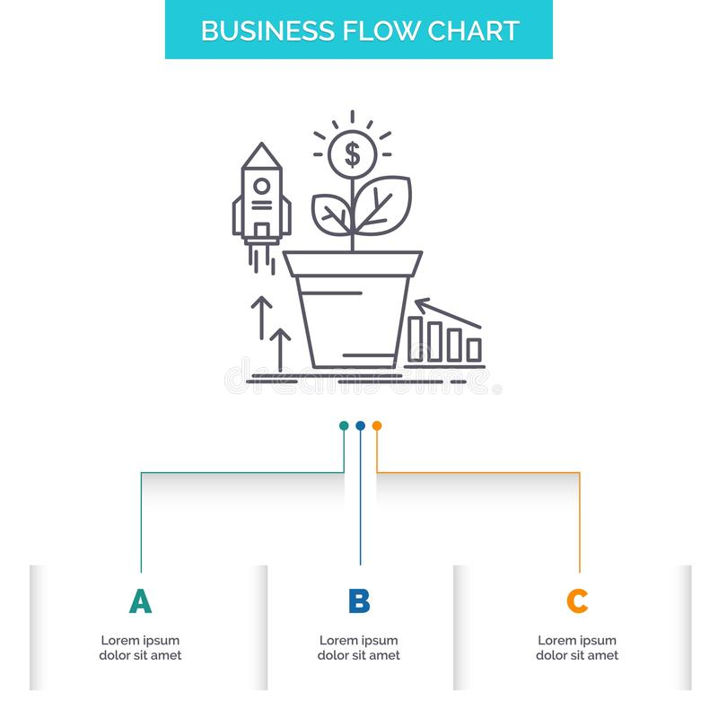 Finance, financial, growth, money, profit Business Flow Chart Design with 3 Steps. Line Icon For Presentation Background Template royalty free illustration