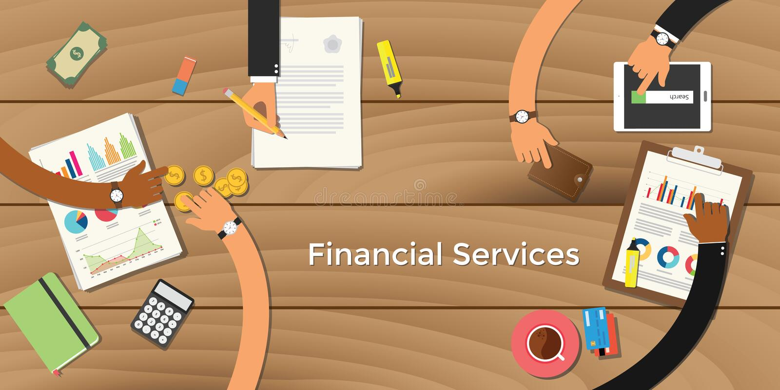 Finance financial services business concept illustration terms with team business man hand writing working on graph. Chart money paper work vector vector illustration