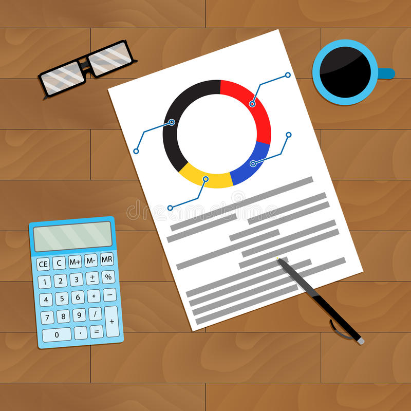 Finance flowchart on workplace. Vector pie chart with coffee illustration stock illustration