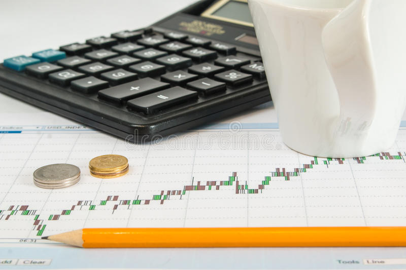 Finance graph on a white background with calculator, cup of coffee an office desk at morning royalty free stock image