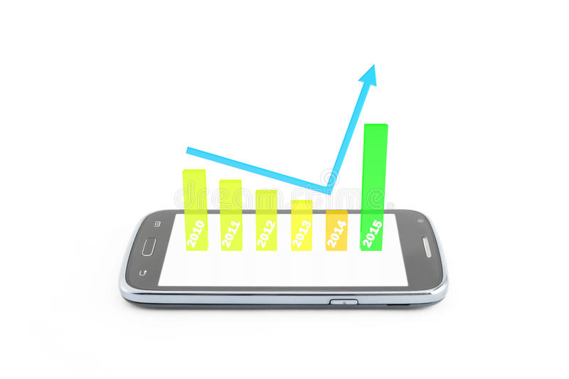 Finance. Graphic 3d increase,become better 0n new year 2015,on the smartphone,white background vector illustration