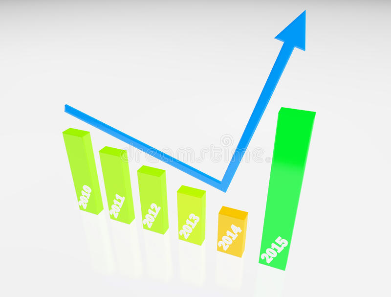 Finance. Graphic 3d increase,become better on new year 2015,white color background royalty free illustration