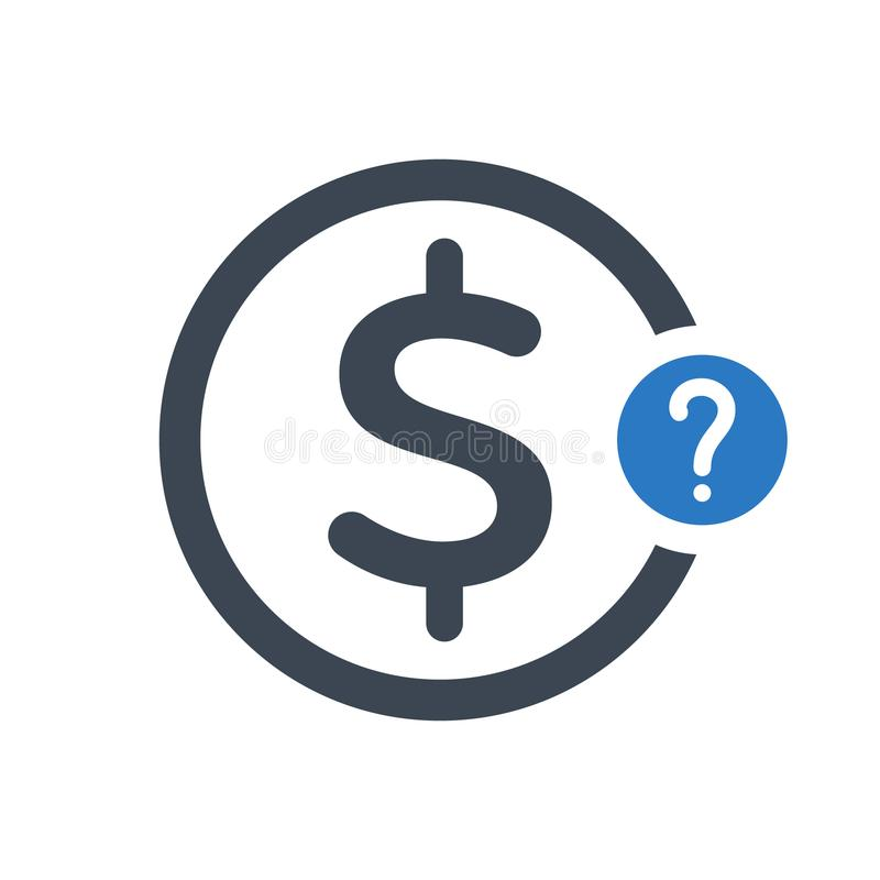 Finance icon with question mark. Finance icon and help, how to, info, query symbol. Vector icon royalty free illustration
