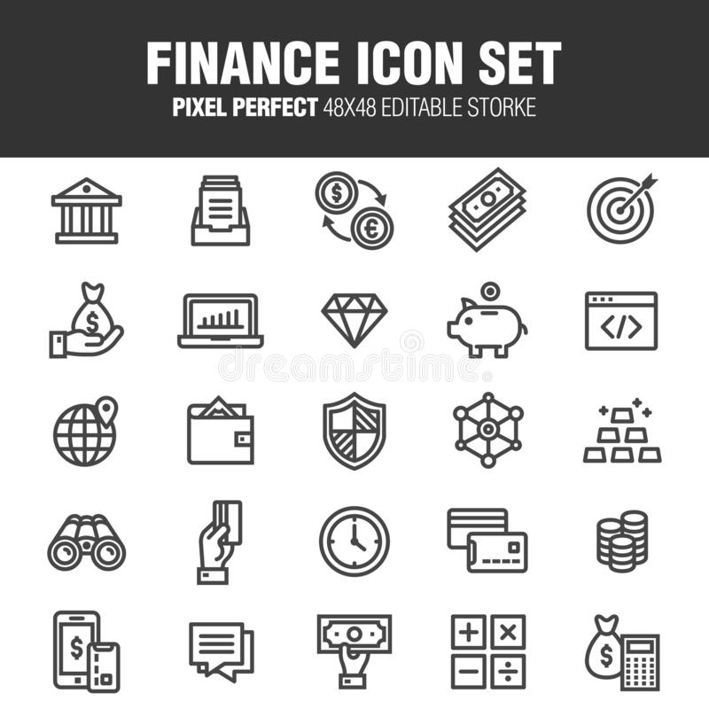 Finance icon set 25 stock illustration