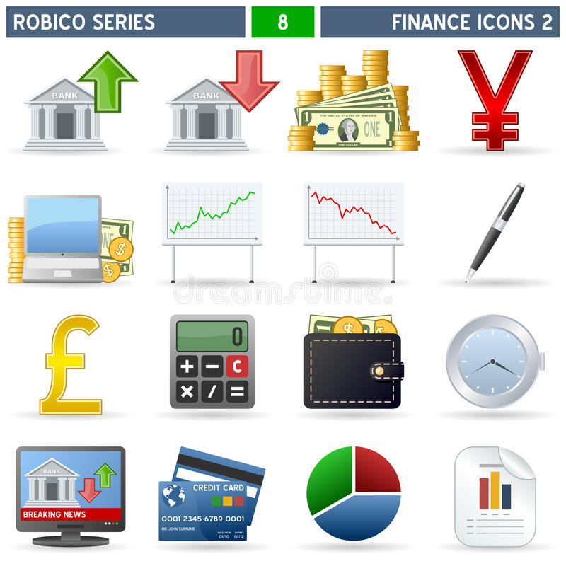 Free Finance Icons [2] - Robico Series Royalty Free Stock Photo - 13435455