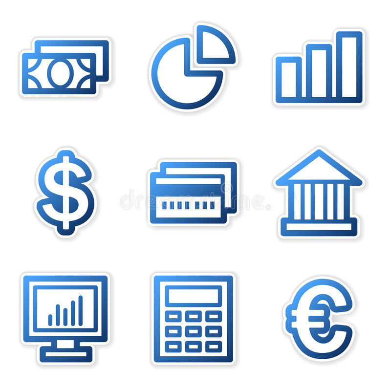 Finance icons, blue series stock illustration