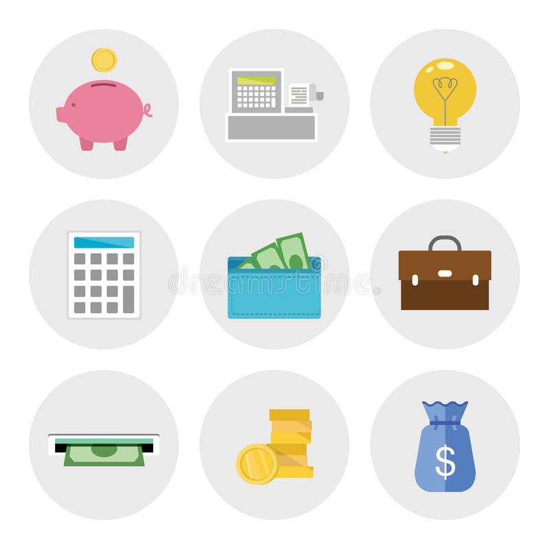 Finance icons in flat design royalty free illustration