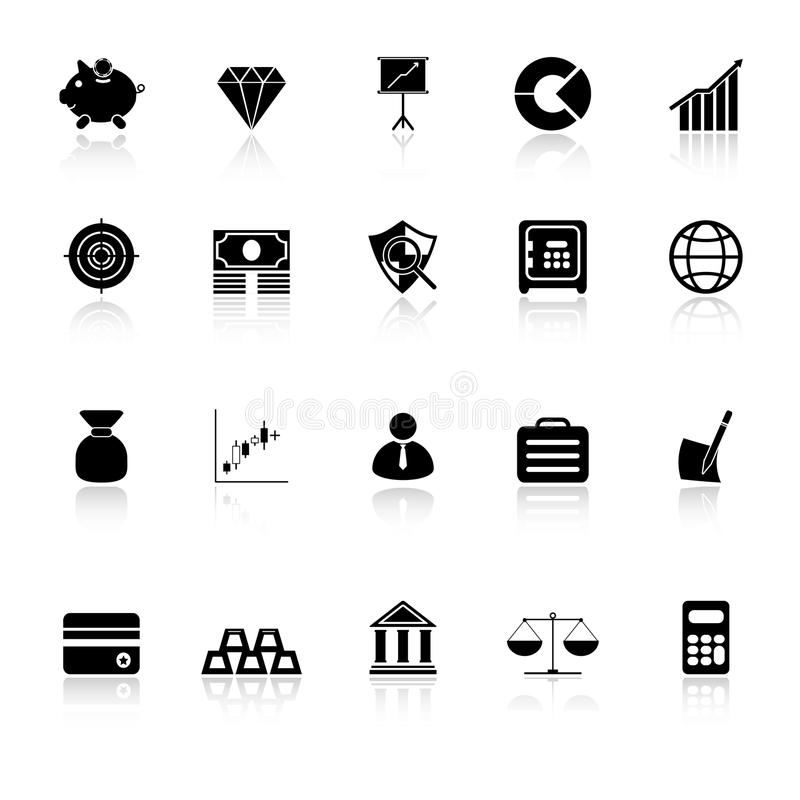 Finance Icons With Reflect On White Background Stock Photo