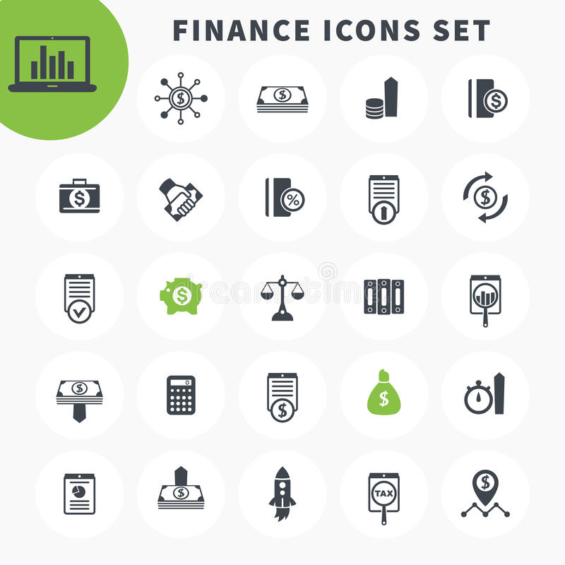25 finance icons set, investing, funds, assets vector illustration