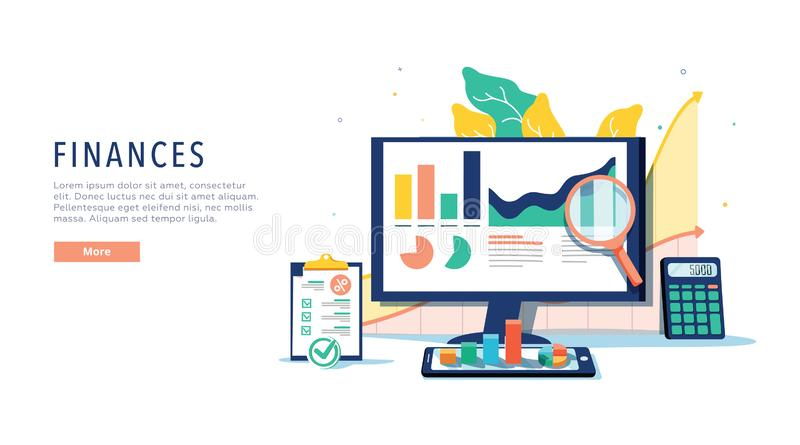 Finance and innovative mobile technology concept. Isometric vector of financial apps and services on laptop and modern royalty free illustration
