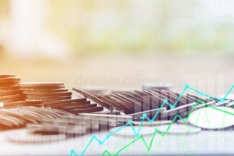 Finance and Investment concept. Money management and Financial chart stock image