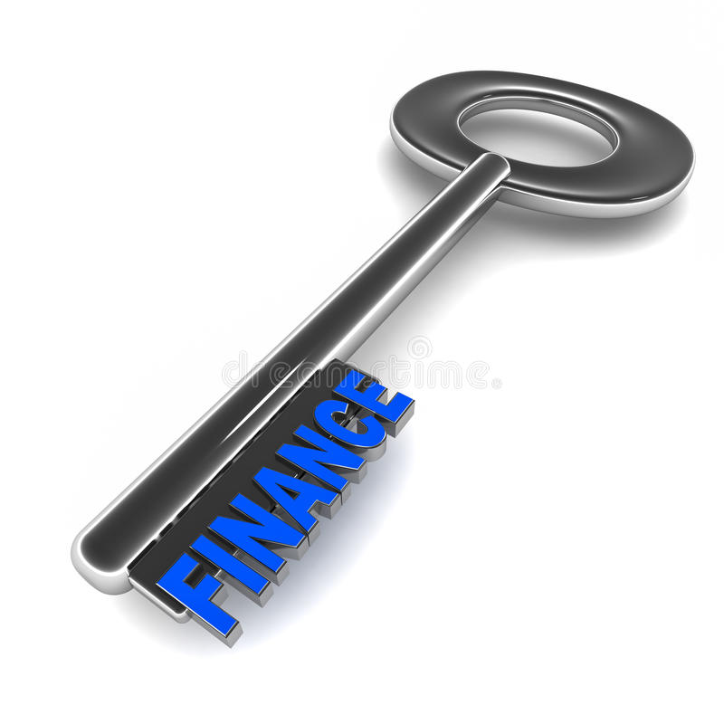 Finance key. A key in chrome, with finance words on tooth, showing the perfect key to good finances royalty free illustration