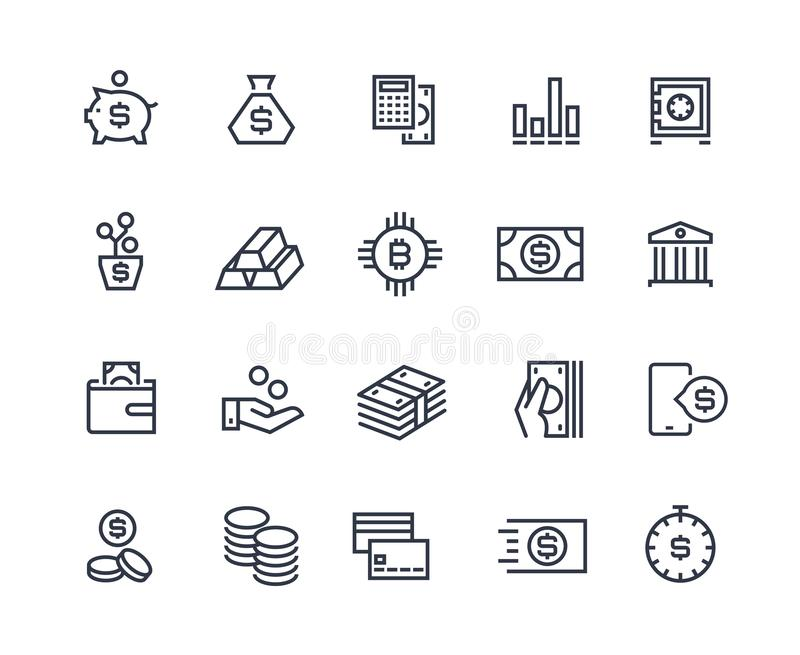 Finance line icons. Money business account, currency management finance audition money calculating. Business investment vector illustration