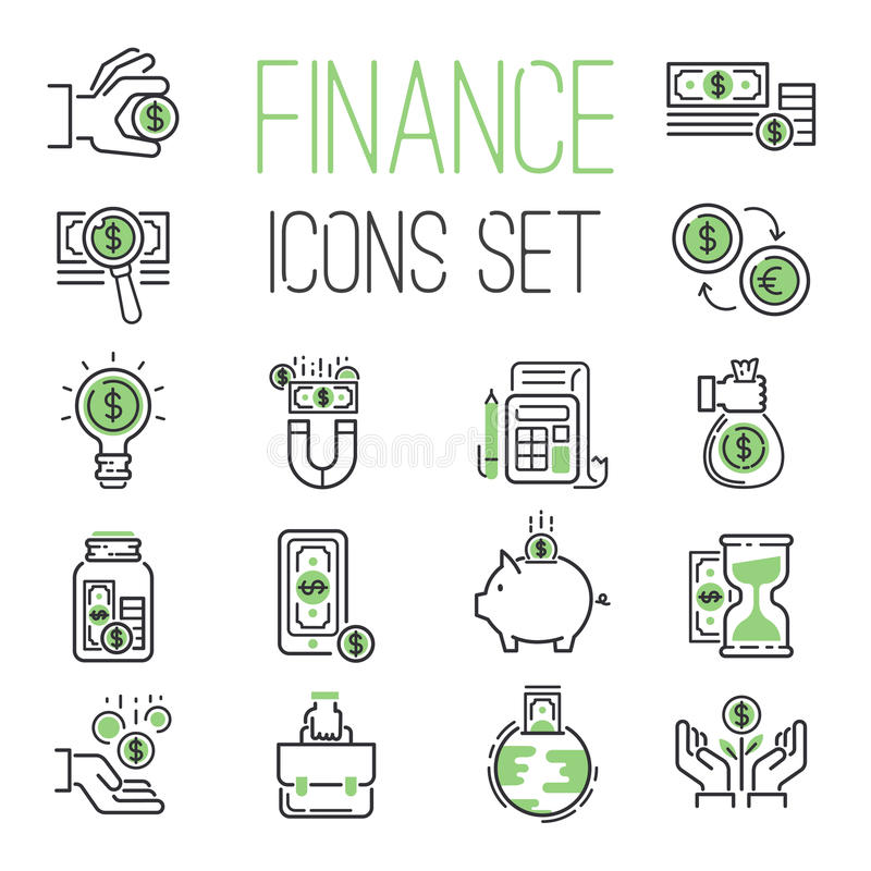 Finance money business outline black wealth accounting graph savings and cash investment banking financial green bank stock illustration