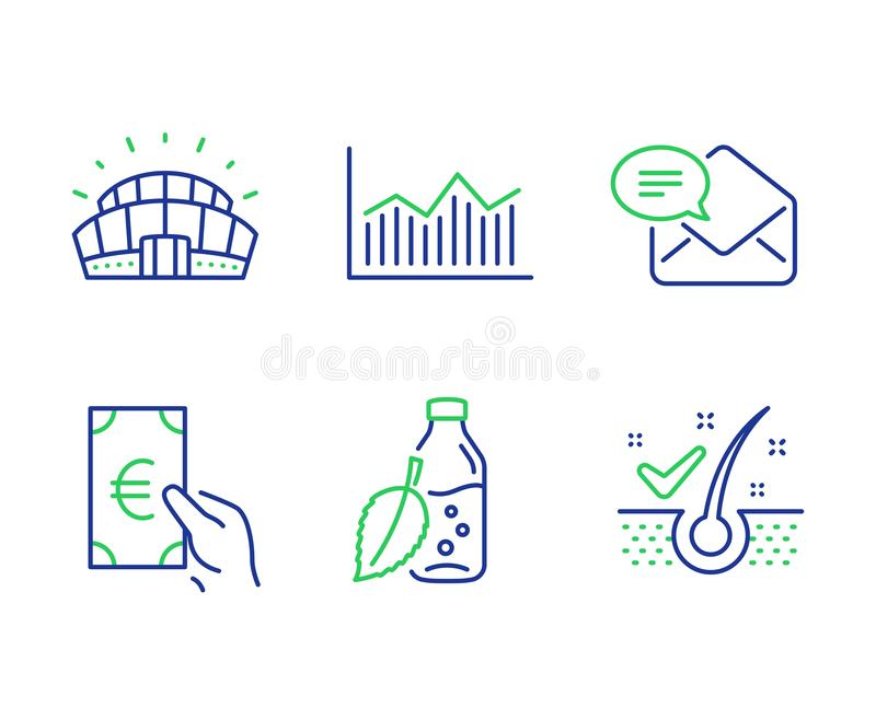 Finance, Money diagram and New mail icons set. Water bottle, Sports stadium and Anti-dandruff flakes signs. Vector. Finance, Money diagram and New mail line vector illustration
