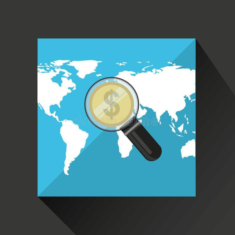 Finance money economy dollar business. Isolated, illustration stock illustration