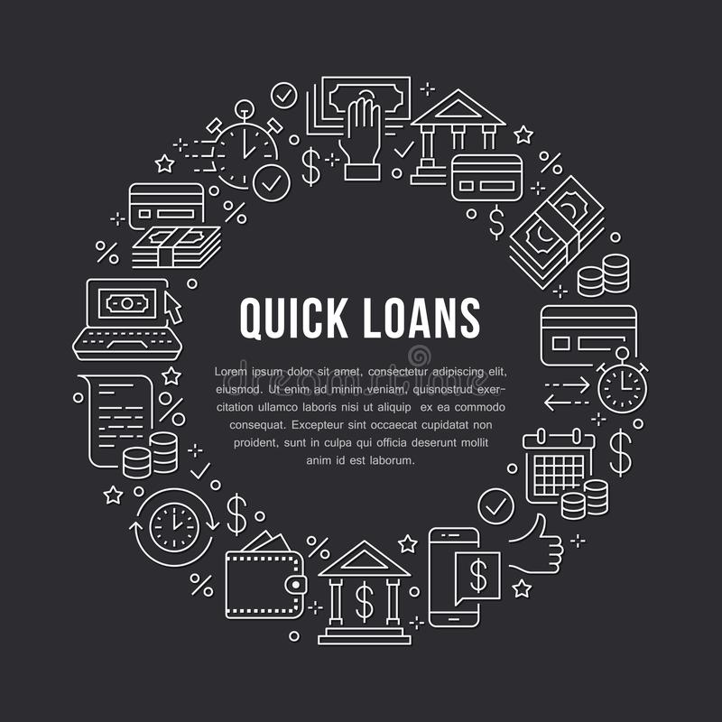 Finance, money loan circle template flat line icons. Quick credit approval, currency transaction, no commission cash. Deposit atm vector brochure illustration stock illustration