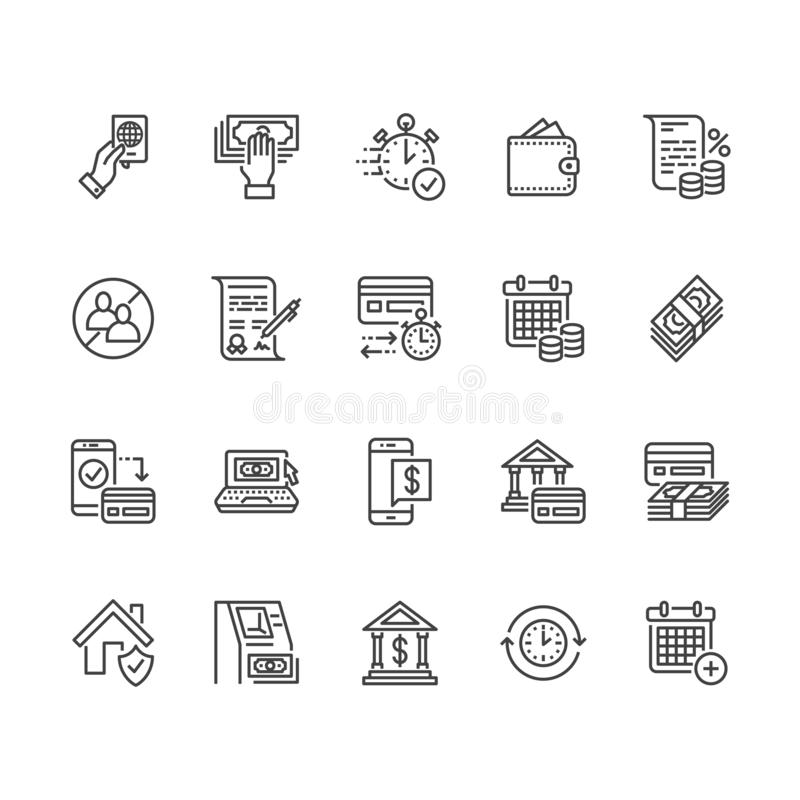 Finance, money loan flat line icons set. Quick credit approval, currency transaction no commission, cash deposit atm royalty free illustration