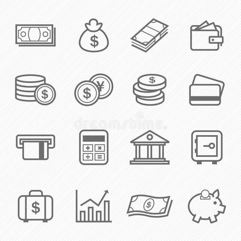 Finance and money outline stroke symbol icons vector illustration
