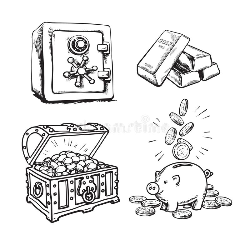 Finance, money set. Metal bank safe, gold bars, old treasure chest with gold coins, piggy bank with falling coins. Black royalty free illustration