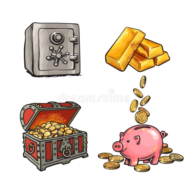 Finance, money set. Metal bank safe, gold bars, old treasure chest with gold coins, piggy bank with falling coins. Hand vector illustration