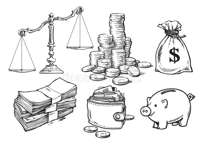 Finance, money set. Scales, stack of coins sack of dollars paper money wallet piggy bank Hand drawn vector sketch . royalty free illustration