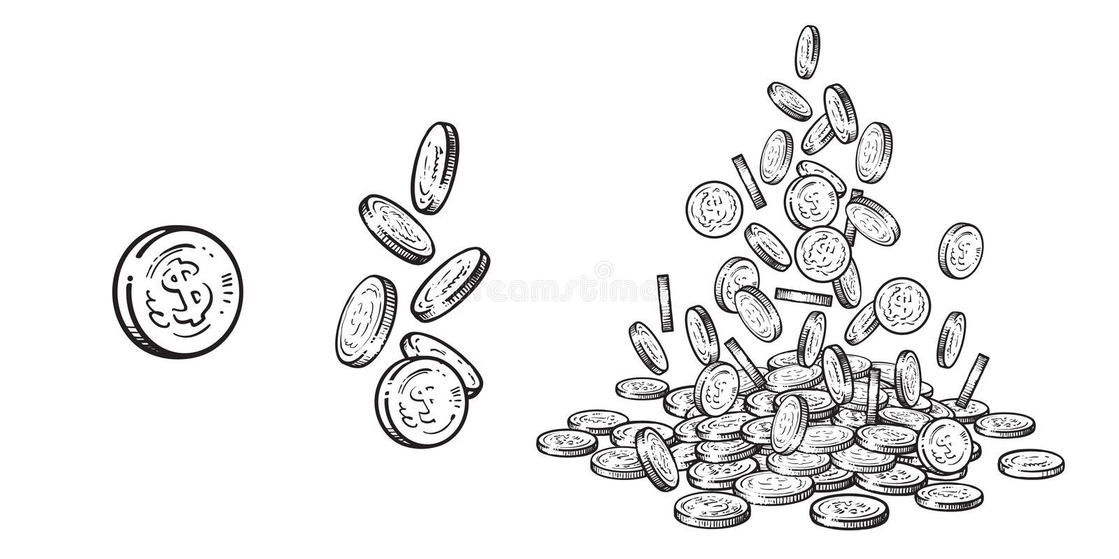 Finance, money set. Sketch of falling gold coins in different positions, pile of cash, stack of money. Hand drawn stock illustration