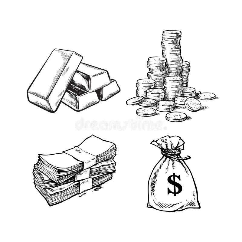 Finance, money set. Sketch of gold bars, stack of coins, paper money, sack of dollars . Black and white vector vector illustration
