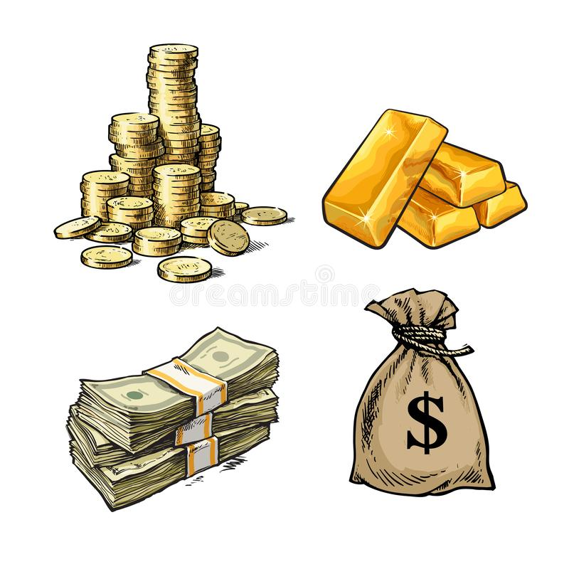Finance, money set. Stack of coins, gold bars, paper money, sack of dollars. Sketch style vector illustration on white vector illustration