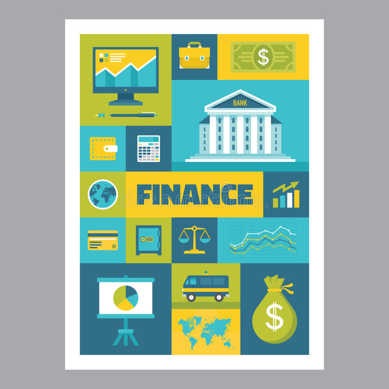 Finance - mosaic poster with icons in flat design style. Vector icons set. Finance flat illustrations. Design elements royalty free illustration
