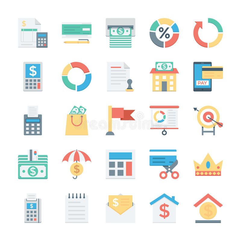 Finance and Payments Colored Vector Icons 6 stock illustration