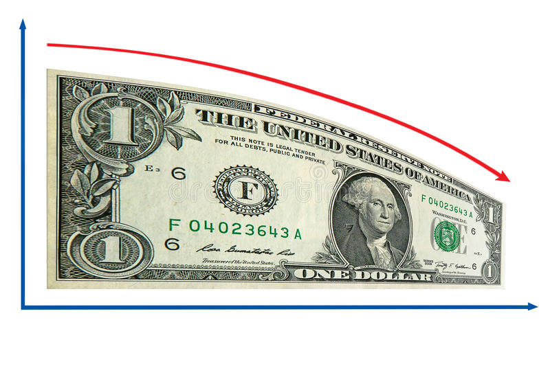 Download Finance Recession By 1 Us Dollar Diagram. Isolated Stock Photo - Image: 20381416