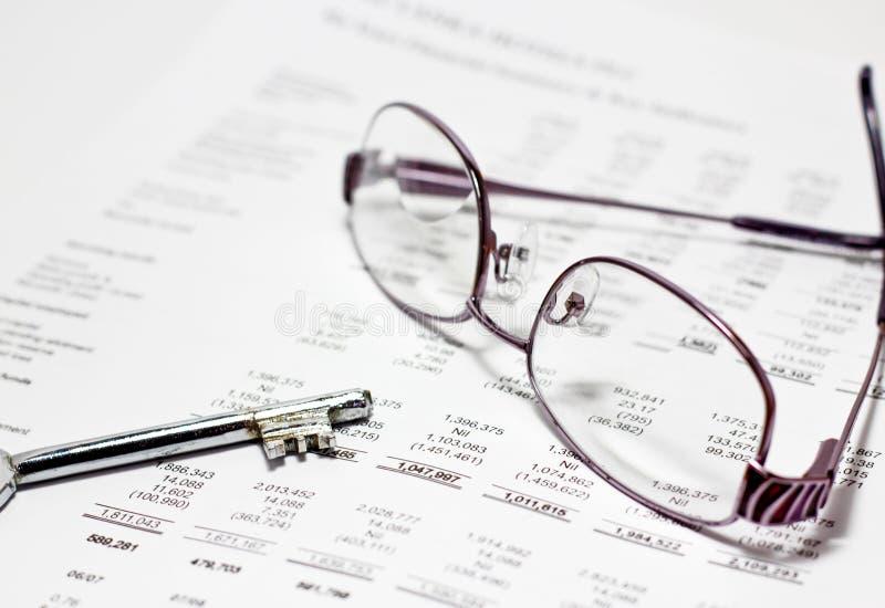 Finance report key to success stock photo