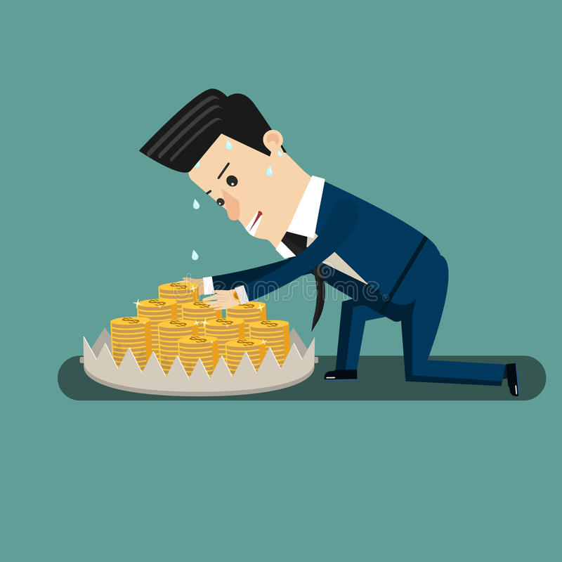Finance risk concept. young business man look at money on trap. vector illustration