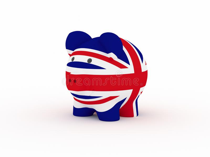 Finance, saving money, piggy bank on white background. United Kingdom flag. 3d illustration royalty free illustration
