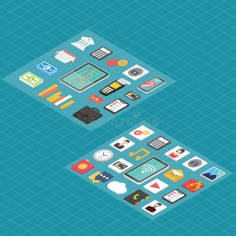 Finance and social media isometric 3d icons. royalty free illustration