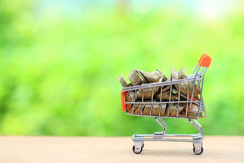 Finance, Stack of gold coins money in mini shopping cart on natural green background, Business investment growth and Save money. For prepare in future concept royalty free stock photo