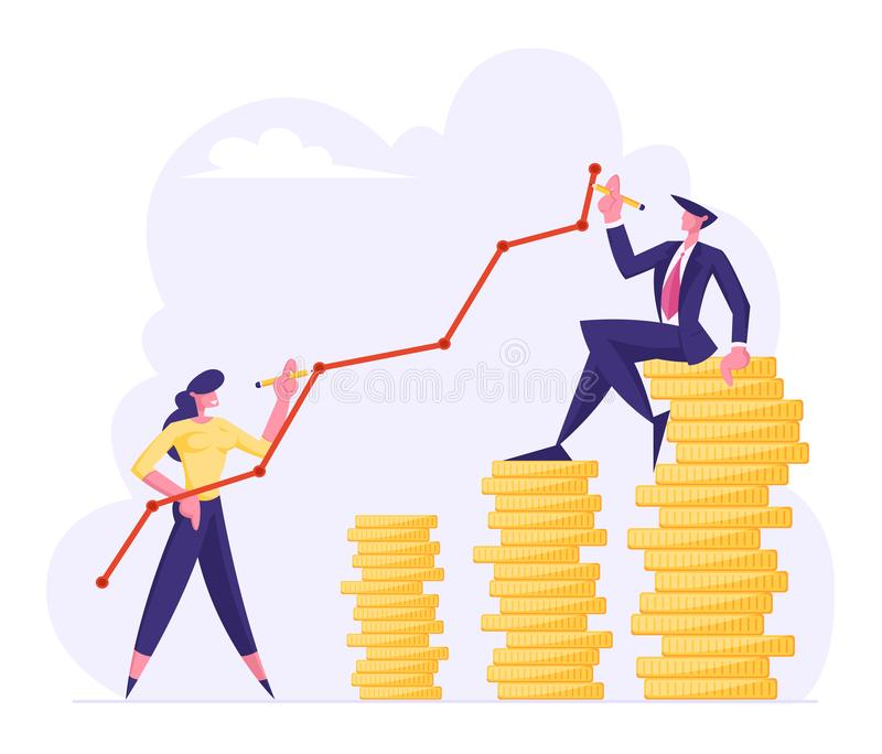 Finance Success, Money Wealth Growing Concept, Business People Drawing Broken Curve Line above Golden Coin Stacks royalty free illustration