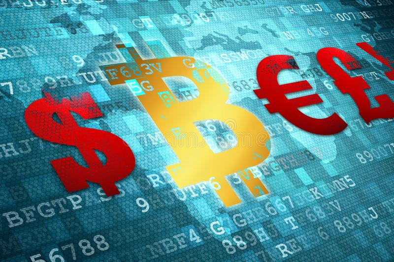 Finance Symbol icon on digital background. Bitcoin. Modern cryptocurrency.  stock images