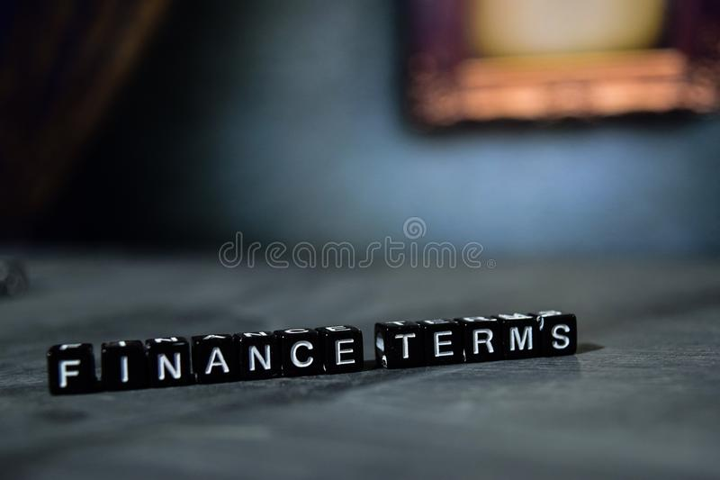 Finance terms on wooden blocks. Business and finance concept. royalty free stock photo