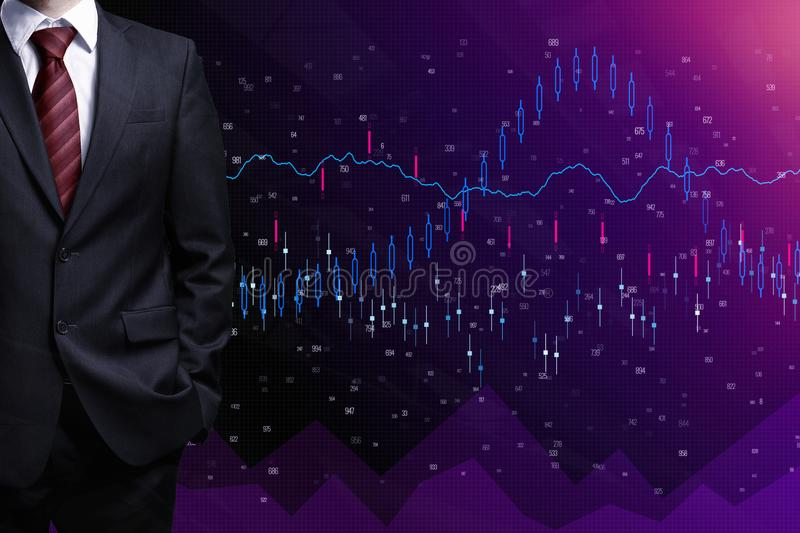 Finance and trade concept. Businessman with folded arms on abstract forex background. Finance and trade concept stock illustration