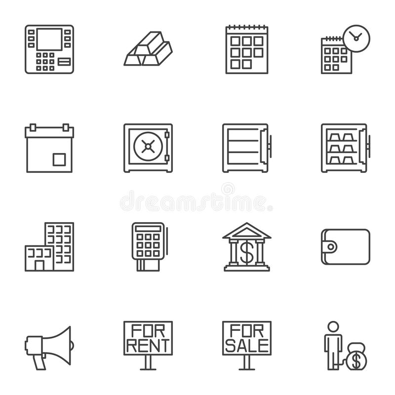 Finance Universal line icons set royalty free illustration