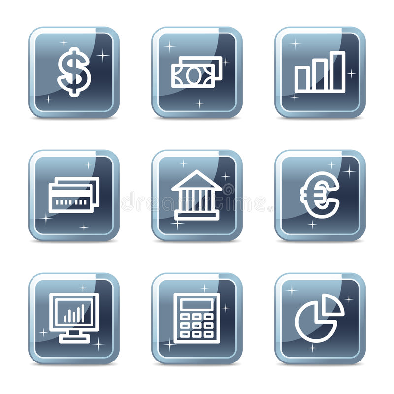 Finance web icons. Vector web icons, blue glossy mineral square buttons series royalty free illustration